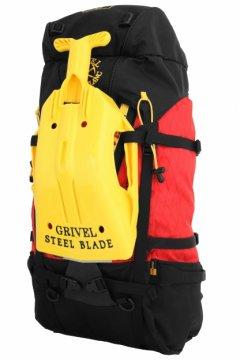 Grivel Steel Blade Shovel on backpack